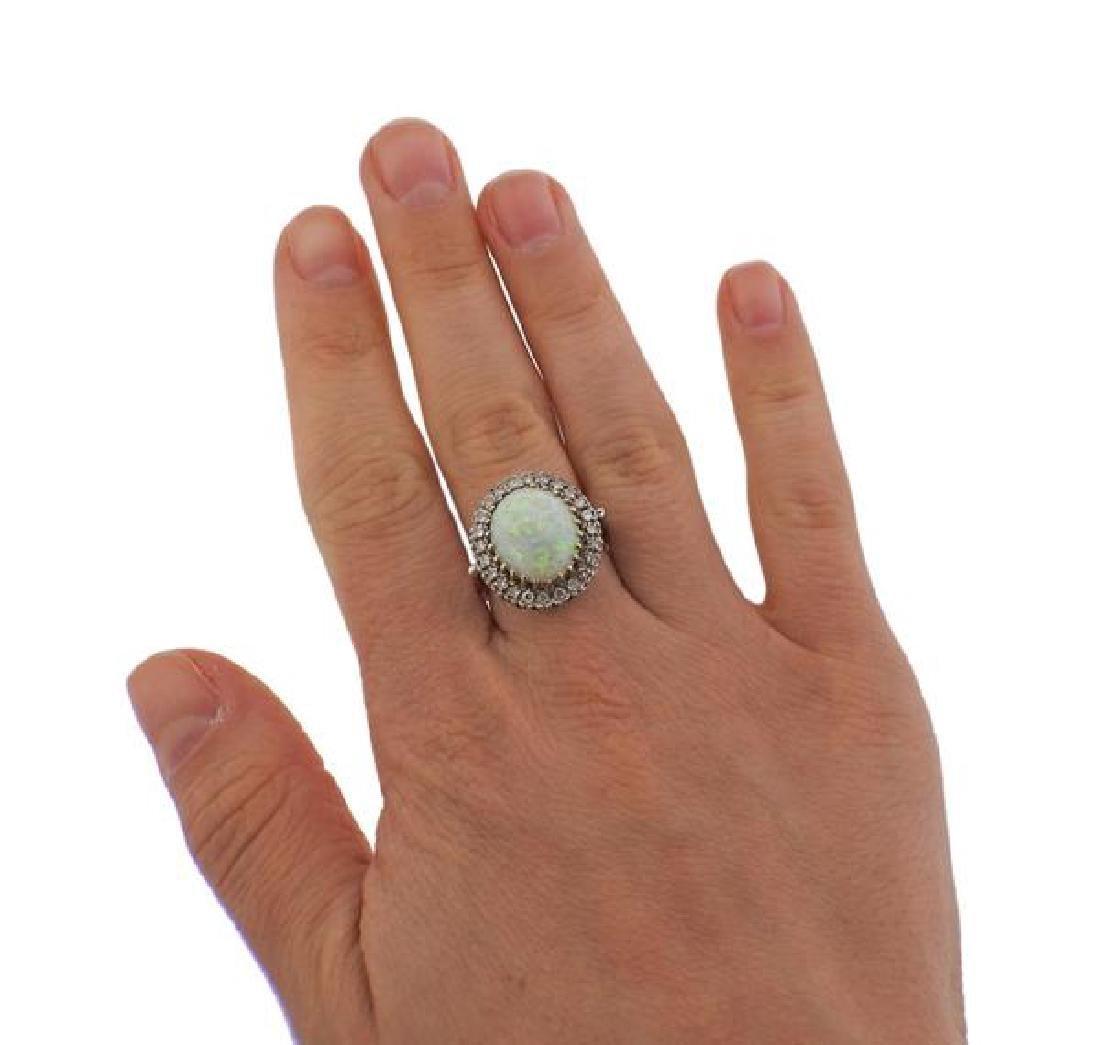 14K Gold Diamond Opal Ring - 4