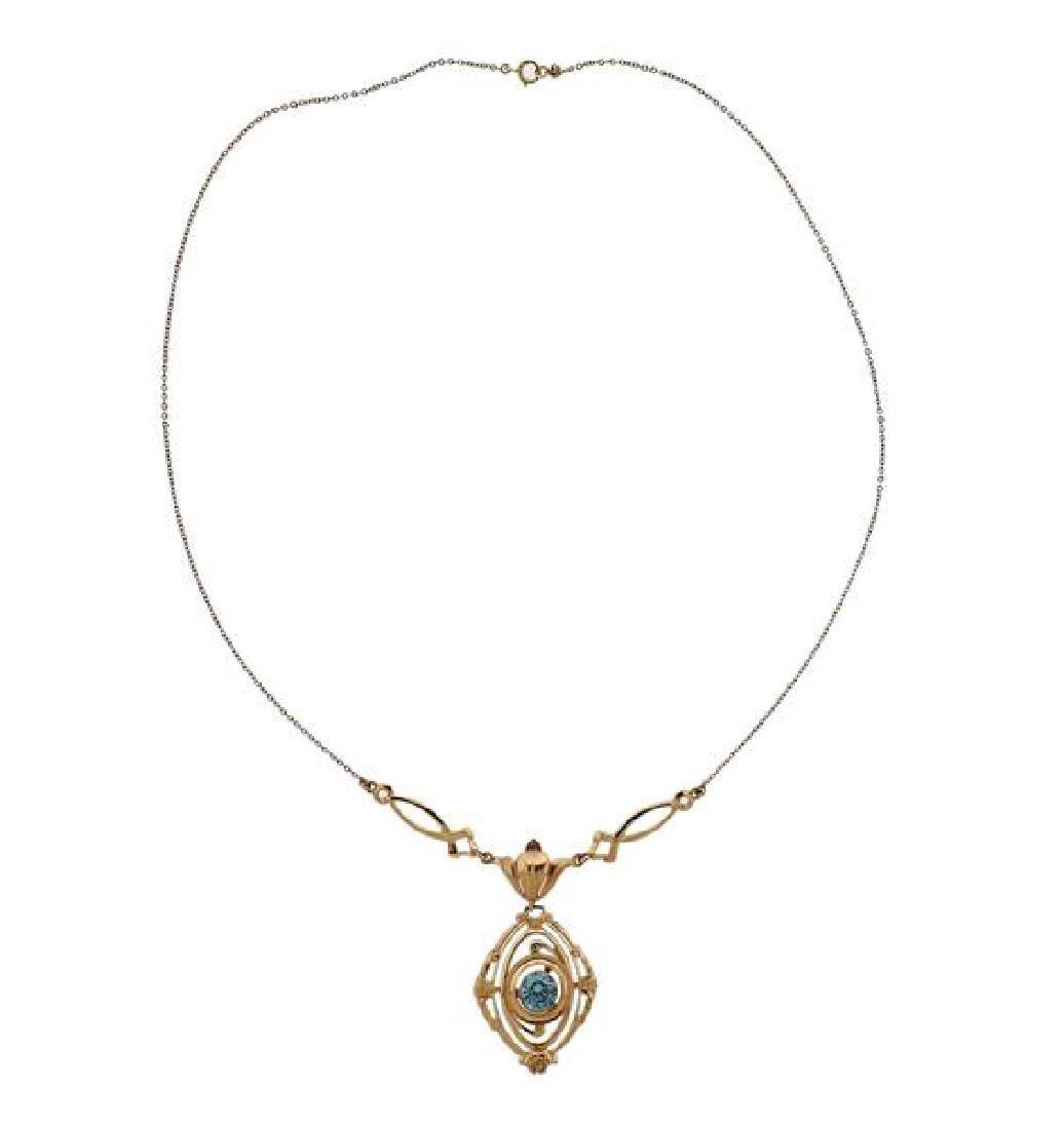 10K Gold Blue Stone Drop Pendant Necklace