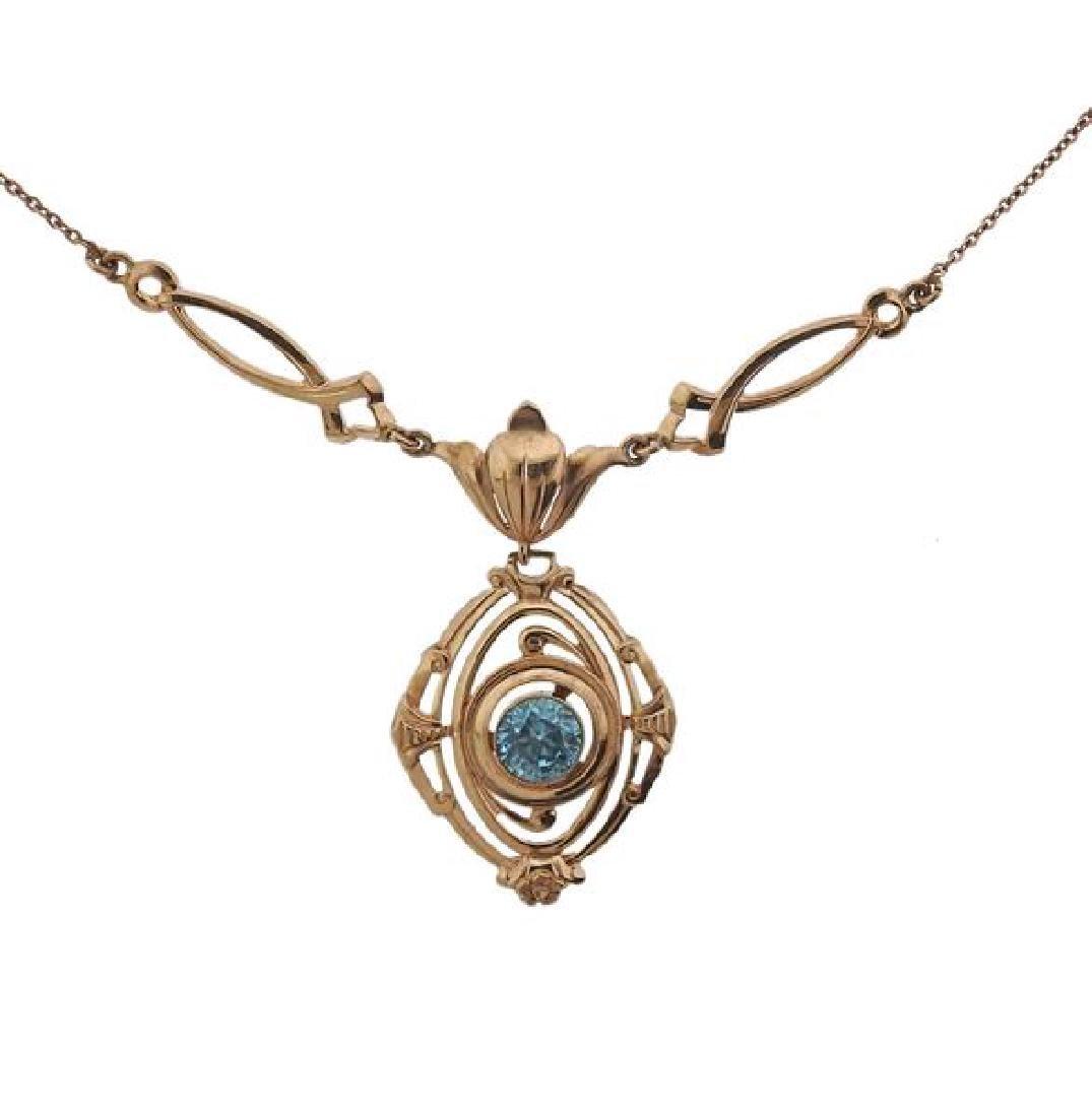 10K Gold Blue Stone Drop Pendant Necklace - 2