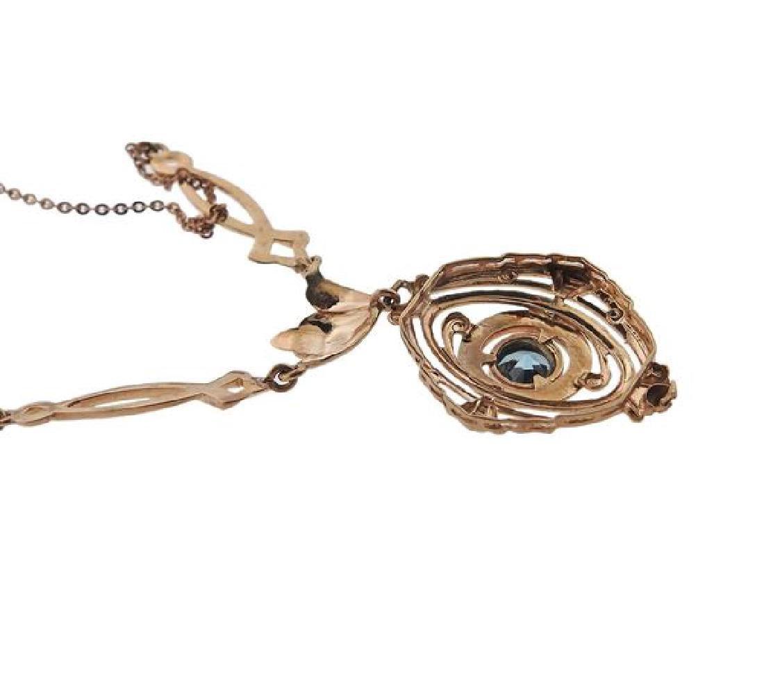 10K Gold Blue Stone Drop Pendant Necklace - 4