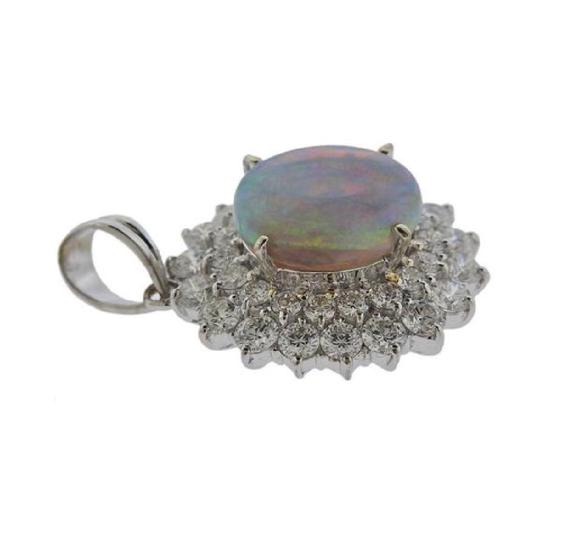 18k Gold Diamond Opal Pendant - 2