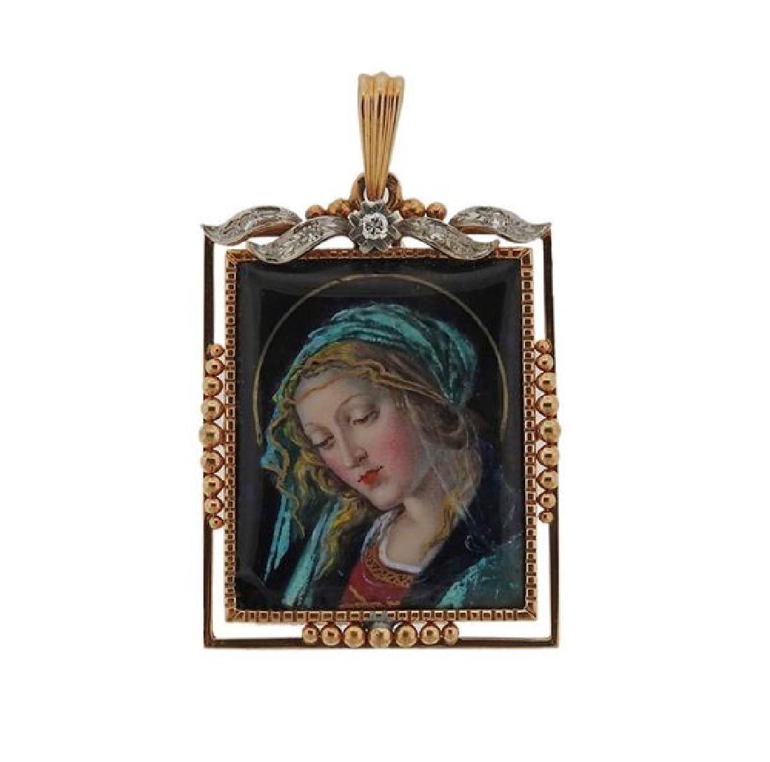 18k Gold Diamond Enamel Portrait St. Mary Pendant