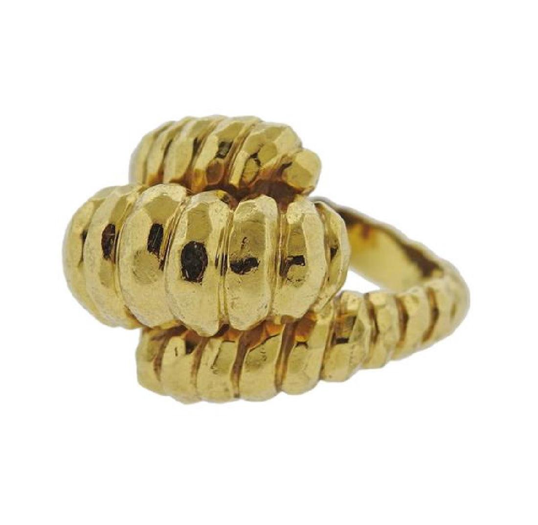 Henry Dunay Hammered 18k Gold Dome Ring - 2