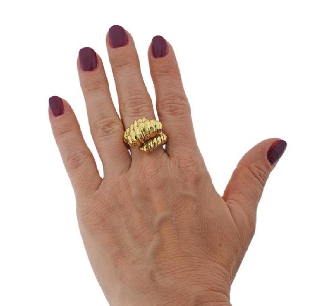 Henry Dunay Hammered 18k Gold Dome Ring - 4