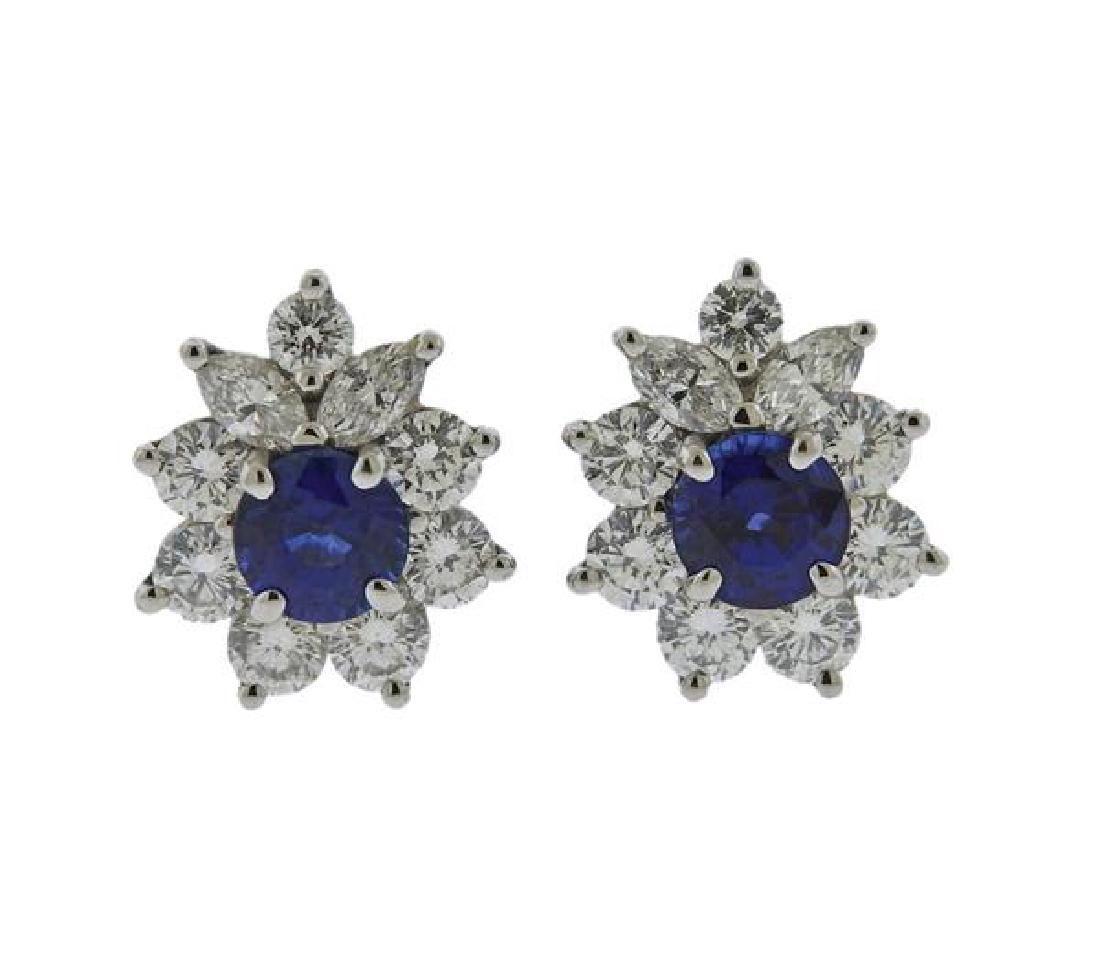 Tiffany & Co Platinum Diamond Sapphire Stud