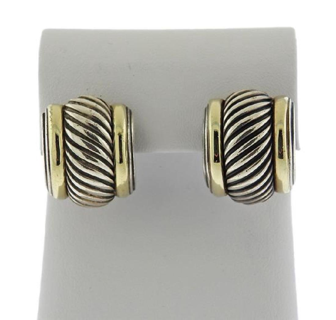 David Yurman Sterling 14k Gold Cable Earrings