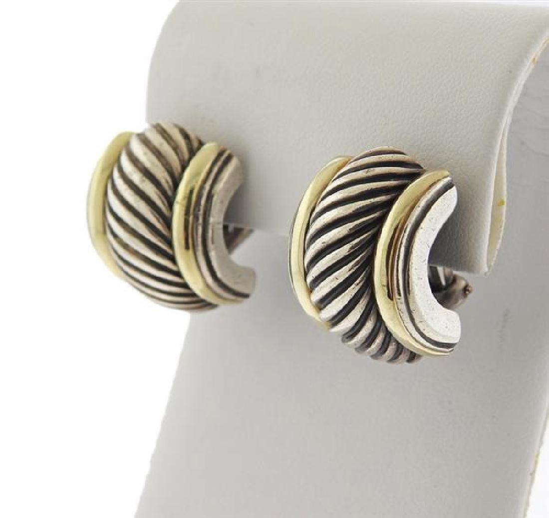 David Yurman Sterling 14k Gold Cable Earrings - 2
