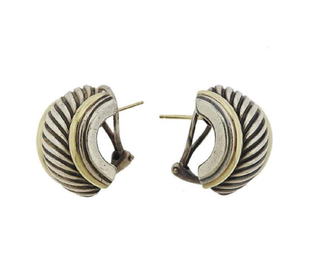 David Yurman Sterling 14k Gold Cable Earrings - 3