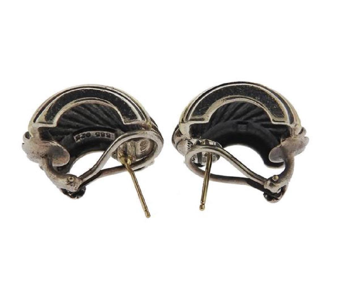 David Yurman Sterling 14k Gold Cable Earrings - 4