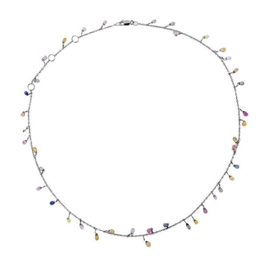 18k Gold Multi Color Gemstone Briolette Necklace