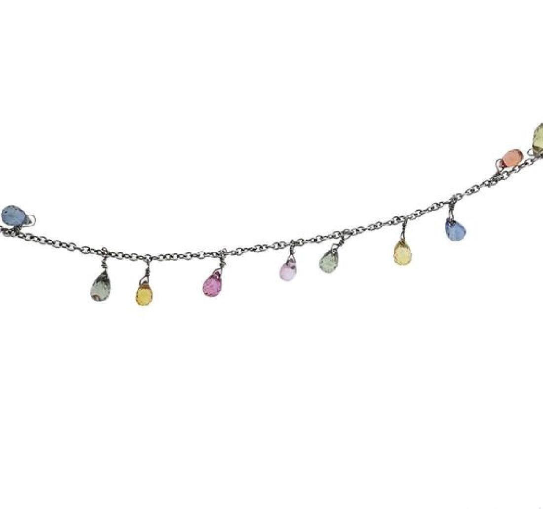 18k Gold Multi Color Gemstone Briolette Necklace - 2