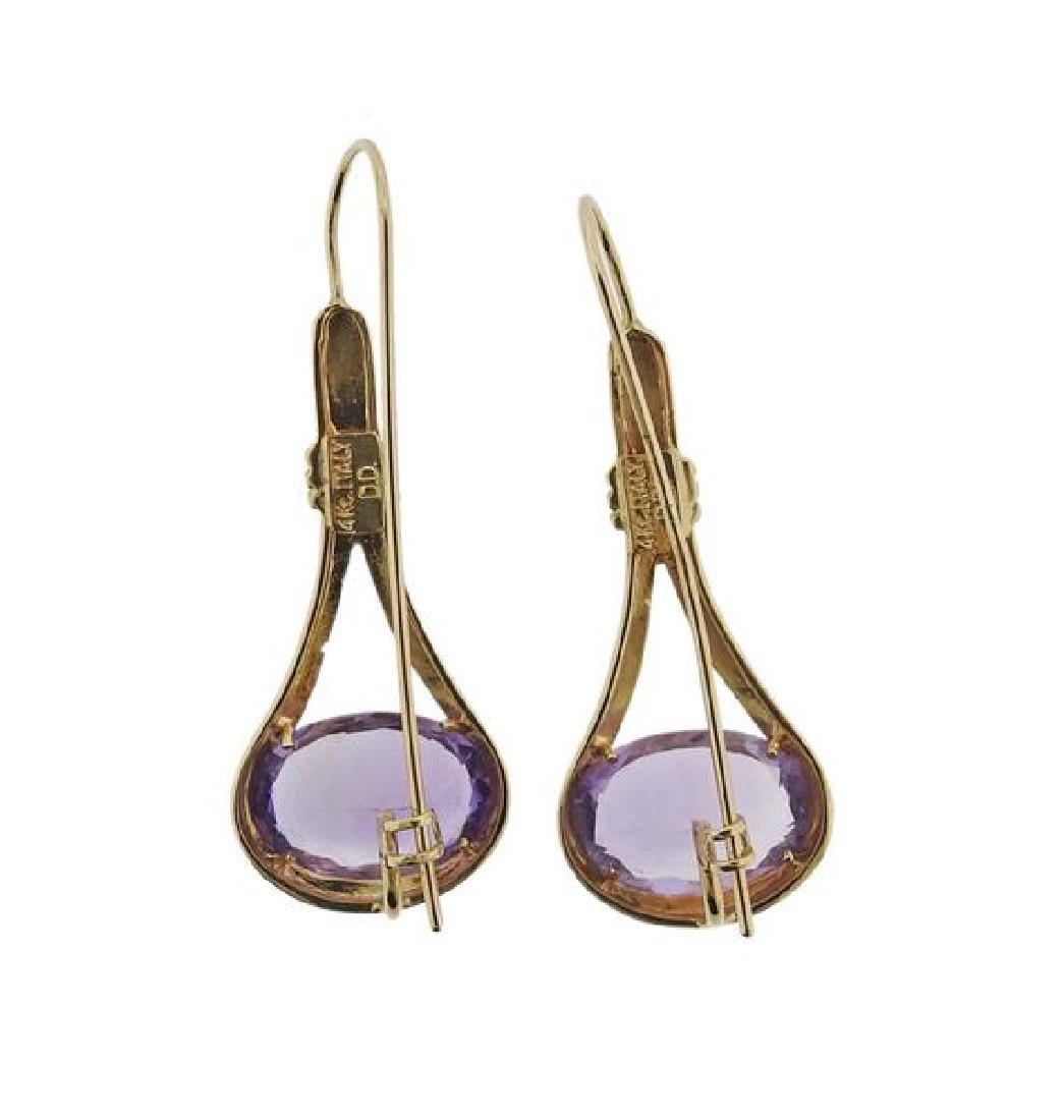 14k Gold Amethyst Drop Earrings - 3
