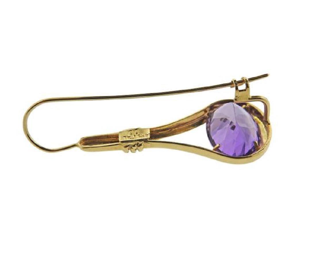 14k Gold Amethyst Drop Earrings - 4