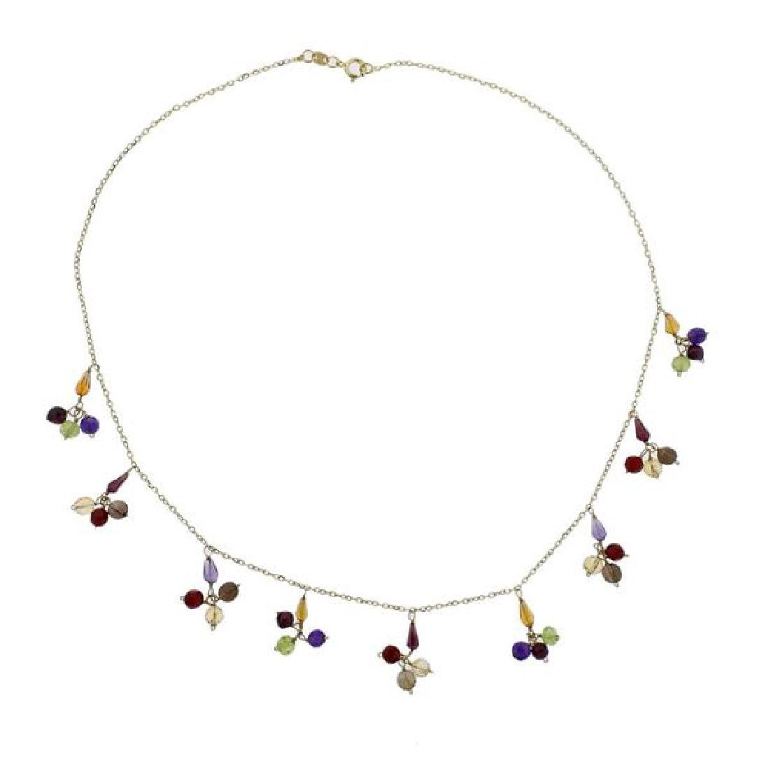 14k Gold Multi Gemstone Necklace