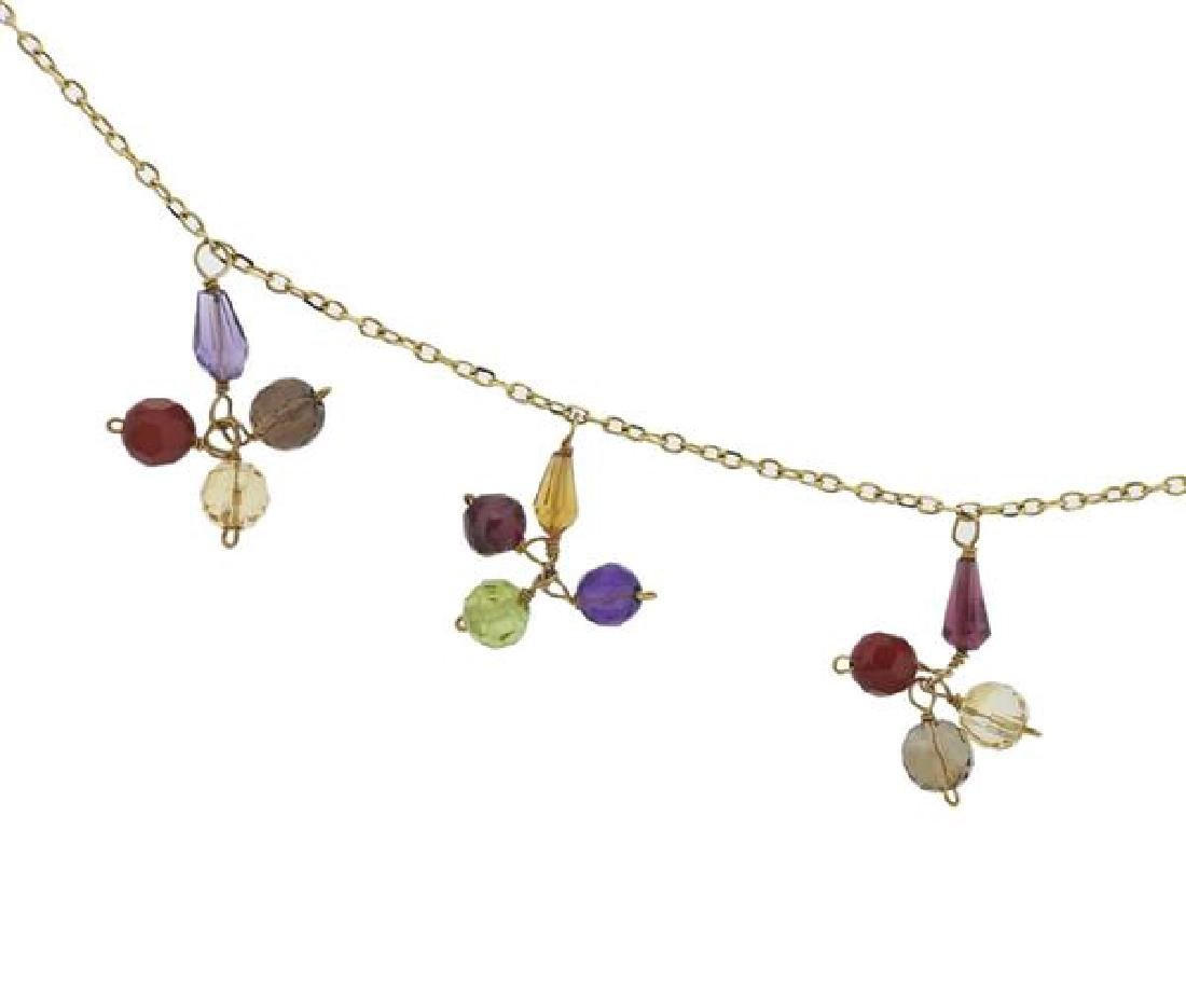 14k Gold Multi Gemstone Necklace - 2