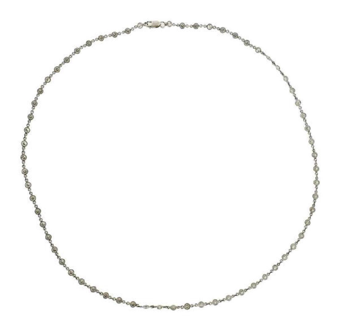 14k Gold Diamond Station Necklace