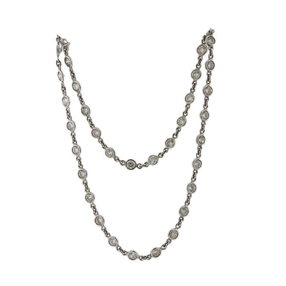 14k Gold Diamond Station Necklace - 2