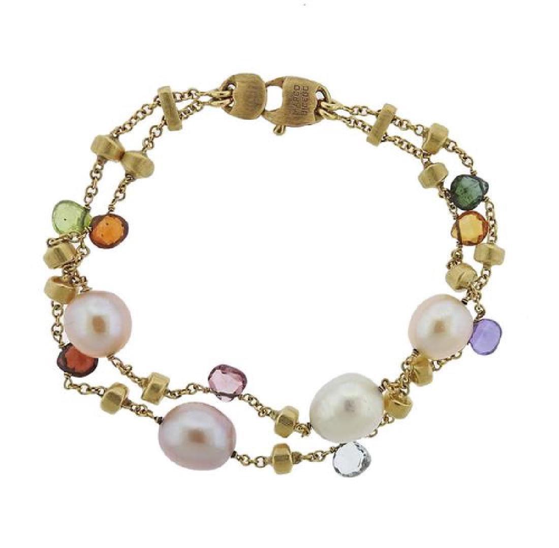Marco Bicego Paradise 18k Gold Gemstone Pearl Bracelet - 2