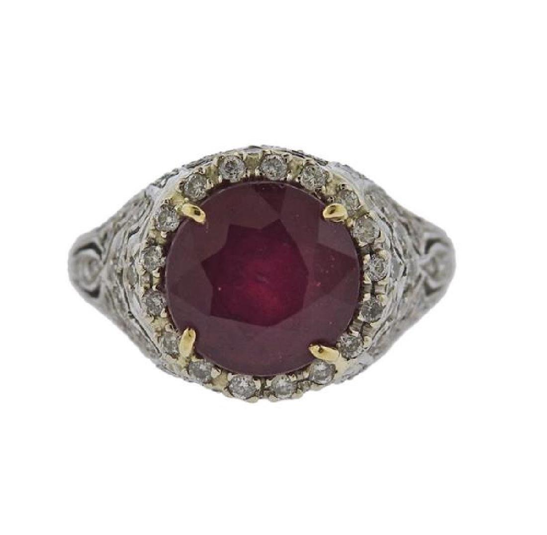 Platinum 4.3ct Ruby Diamond Ring