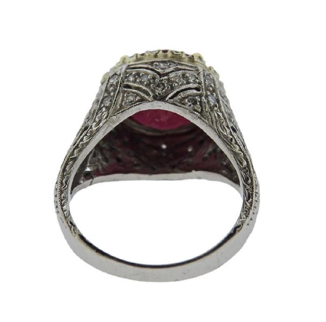 Platinum 4.3ct Ruby Diamond Ring - 3