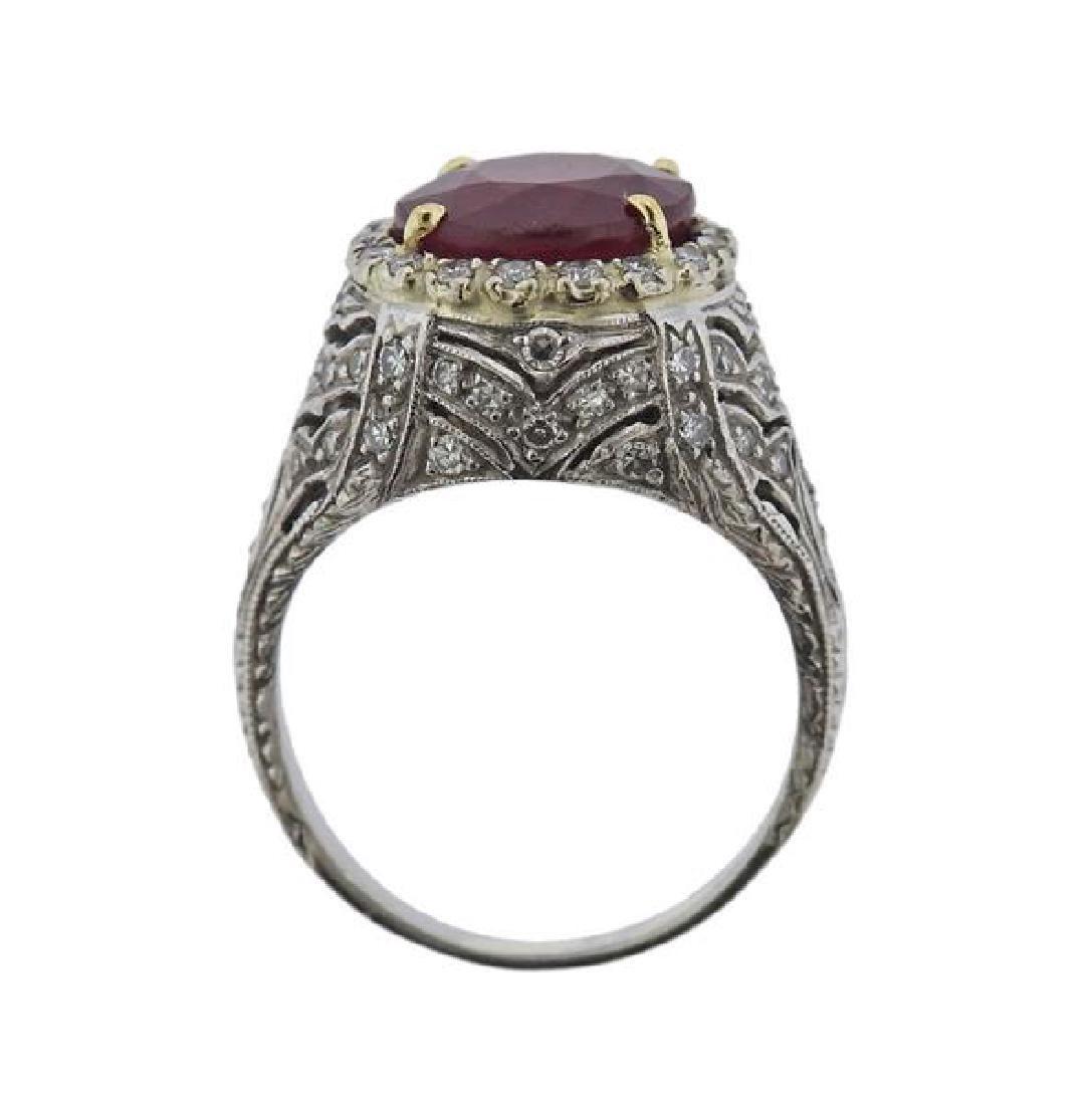 Platinum 4.3ct Ruby Diamond Ring - 4