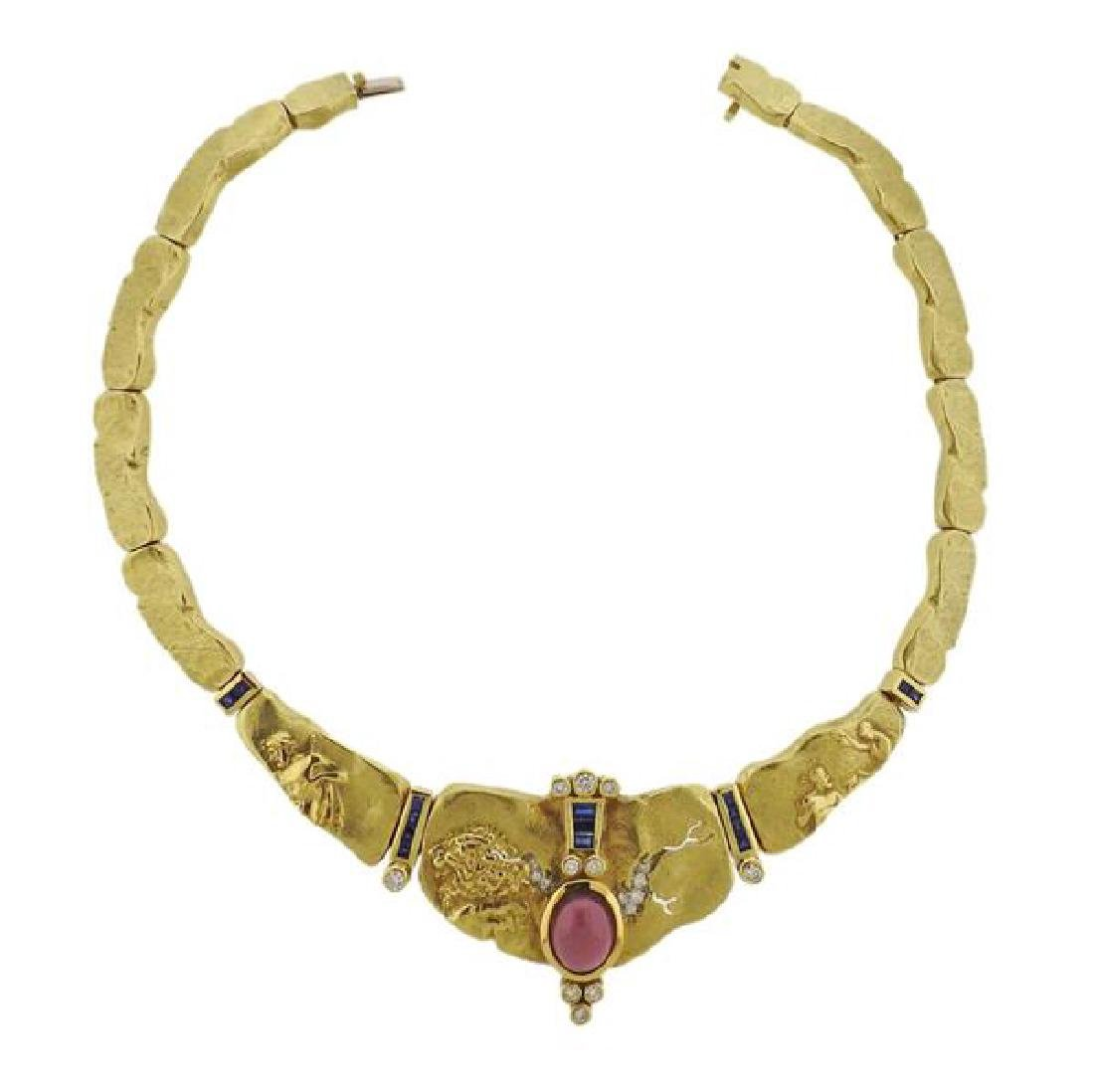 Seidengang 18k Gold Platinum Diamond Sapphire Necklace