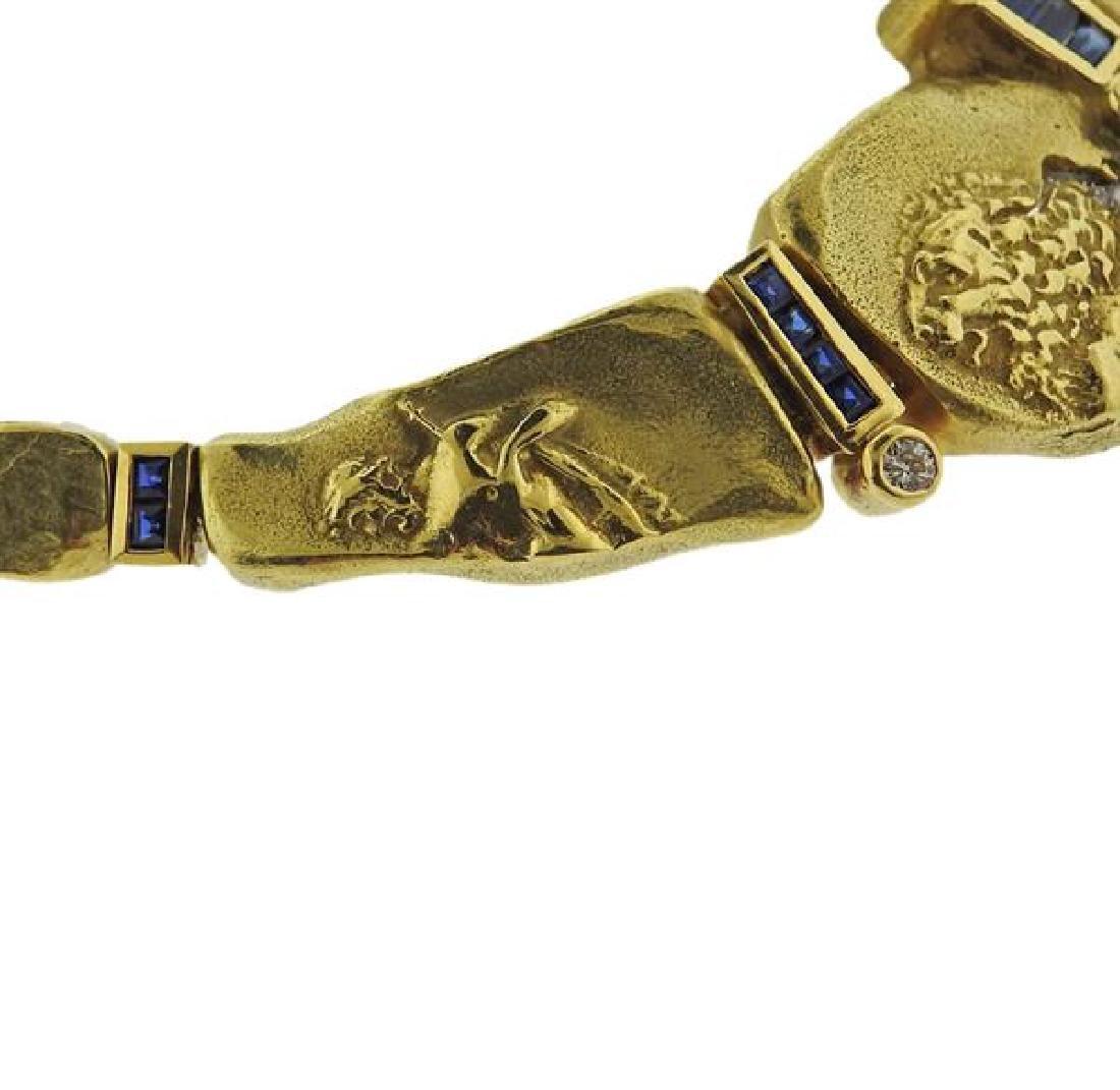 Seidengang 18k Gold Platinum Diamond Sapphire Necklace - 4