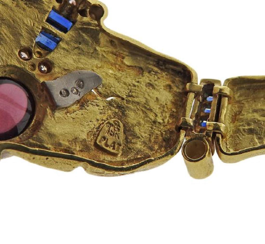 Seidengang 18k Gold Platinum Diamond Sapphire Necklace - 8