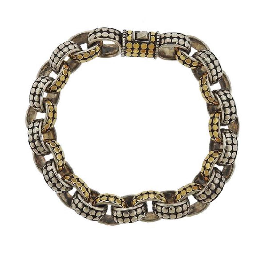 John Hardy Dots Sterling 18k Gold Link Bracelet - 2