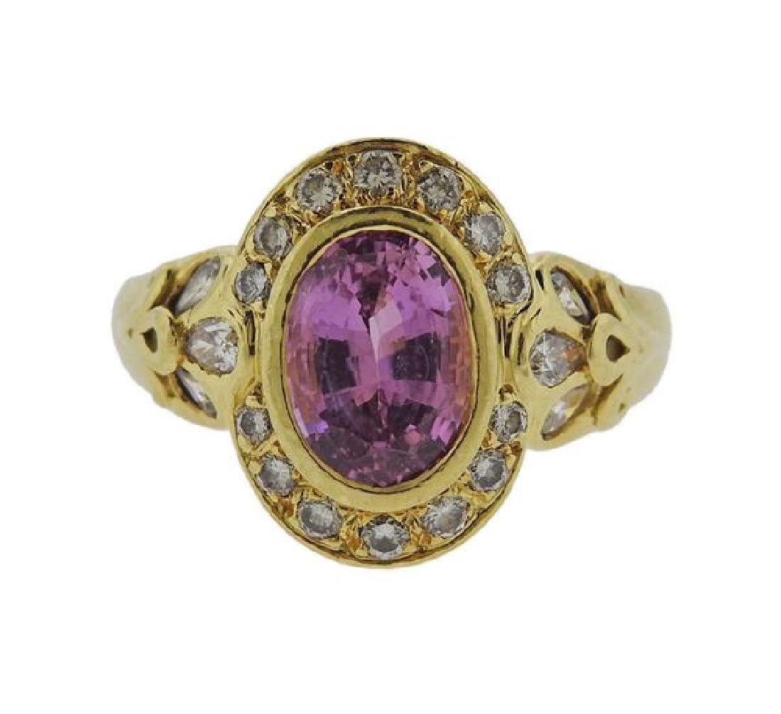 Helen Woodhull 18k Gold Diamond Pink sapphire Ring