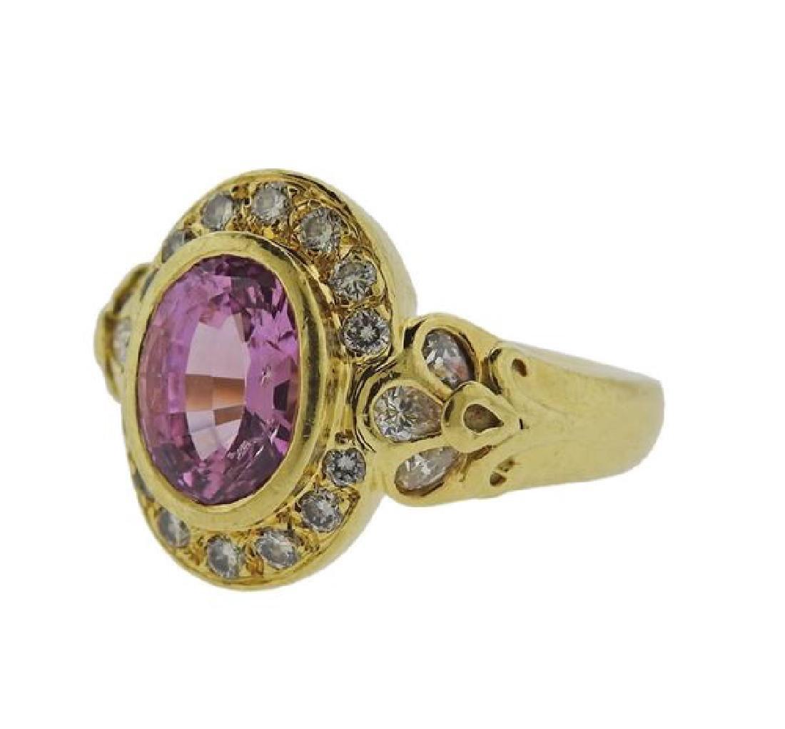 Helen Woodhull 18k Gold Diamond Pink sapphire Ring - 2