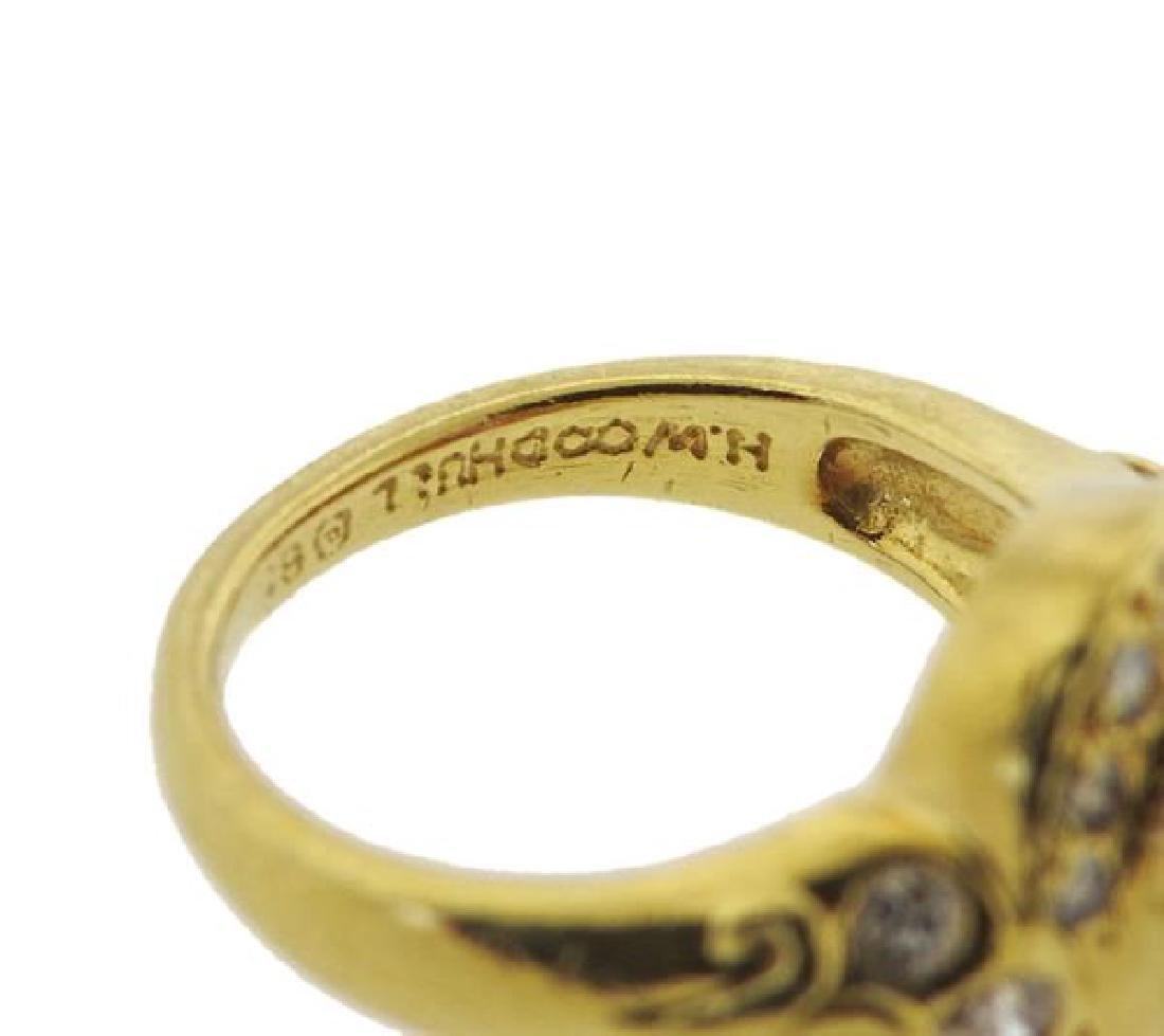 Helen Woodhull 18k Gold Diamond Pink sapphire Ring - 4