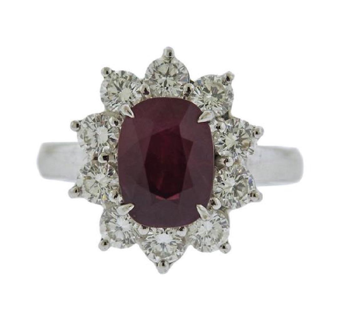 Certified Natural Burma 3.63ct Ruby 18k Gold Diamond