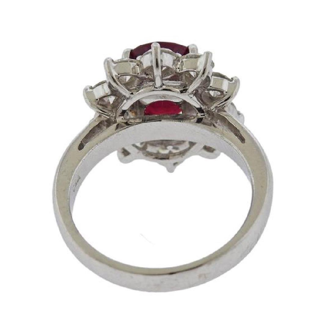 Certified Natural Burma 3.63ct Ruby 18k Gold Diamond - 3