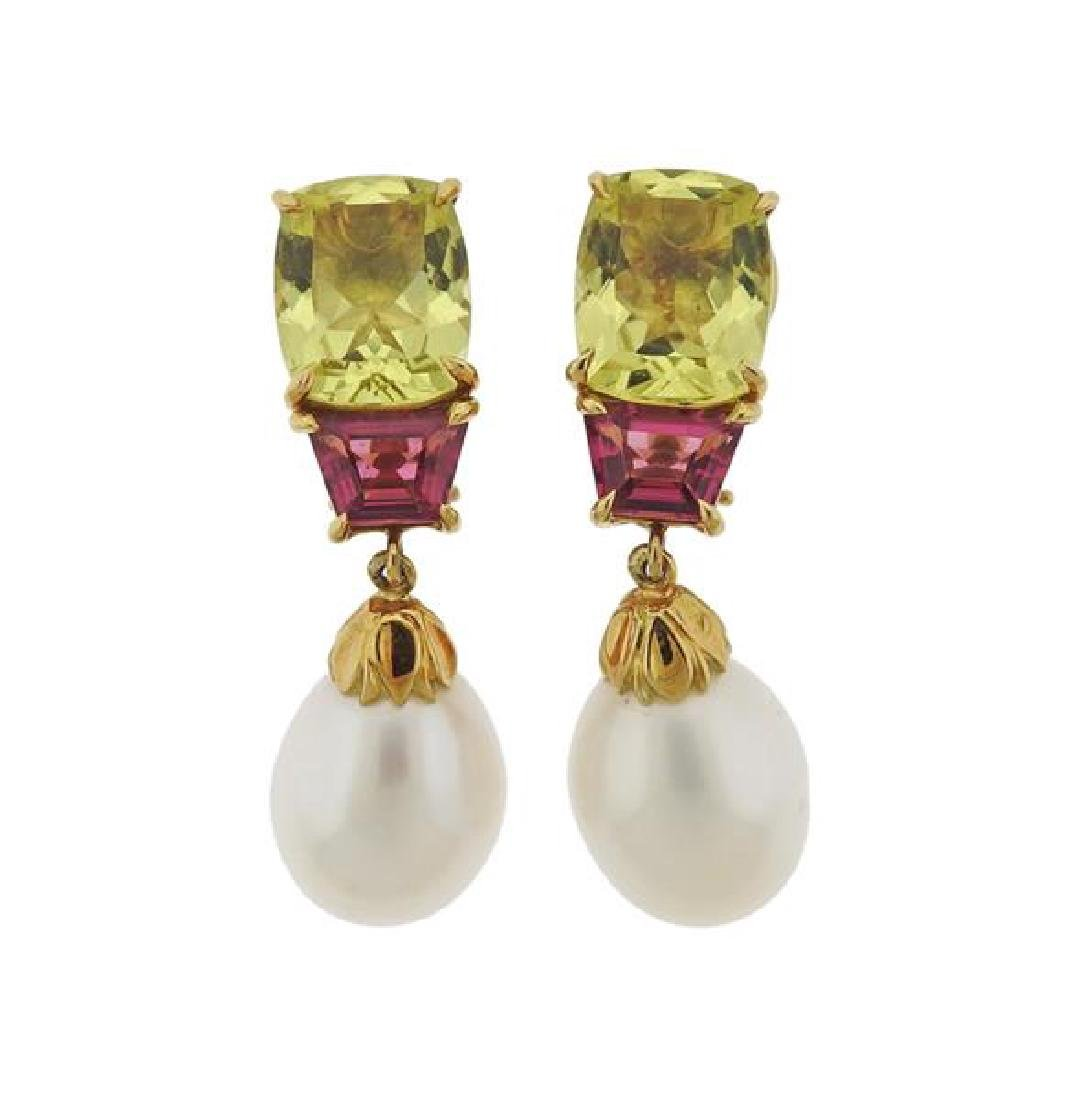 Seaman Schepps 18k Gold Gemstone Pearl Earrings