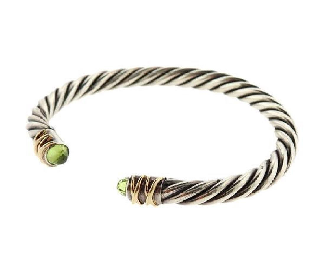14k Gold Sterling Green Stone Cable Cuff Bracelet - 2