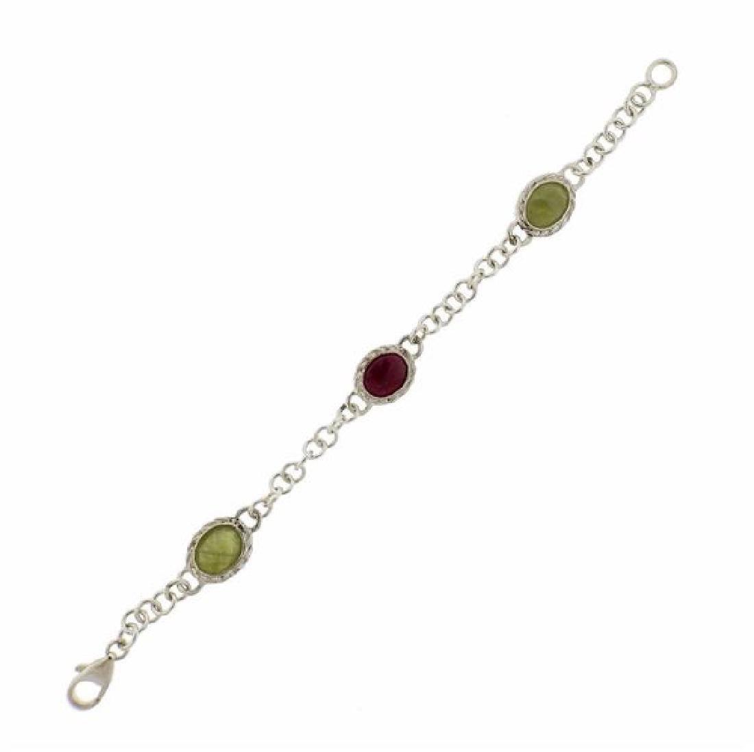 F. Buccellati Sterling Green Red Sapphire Bracelet