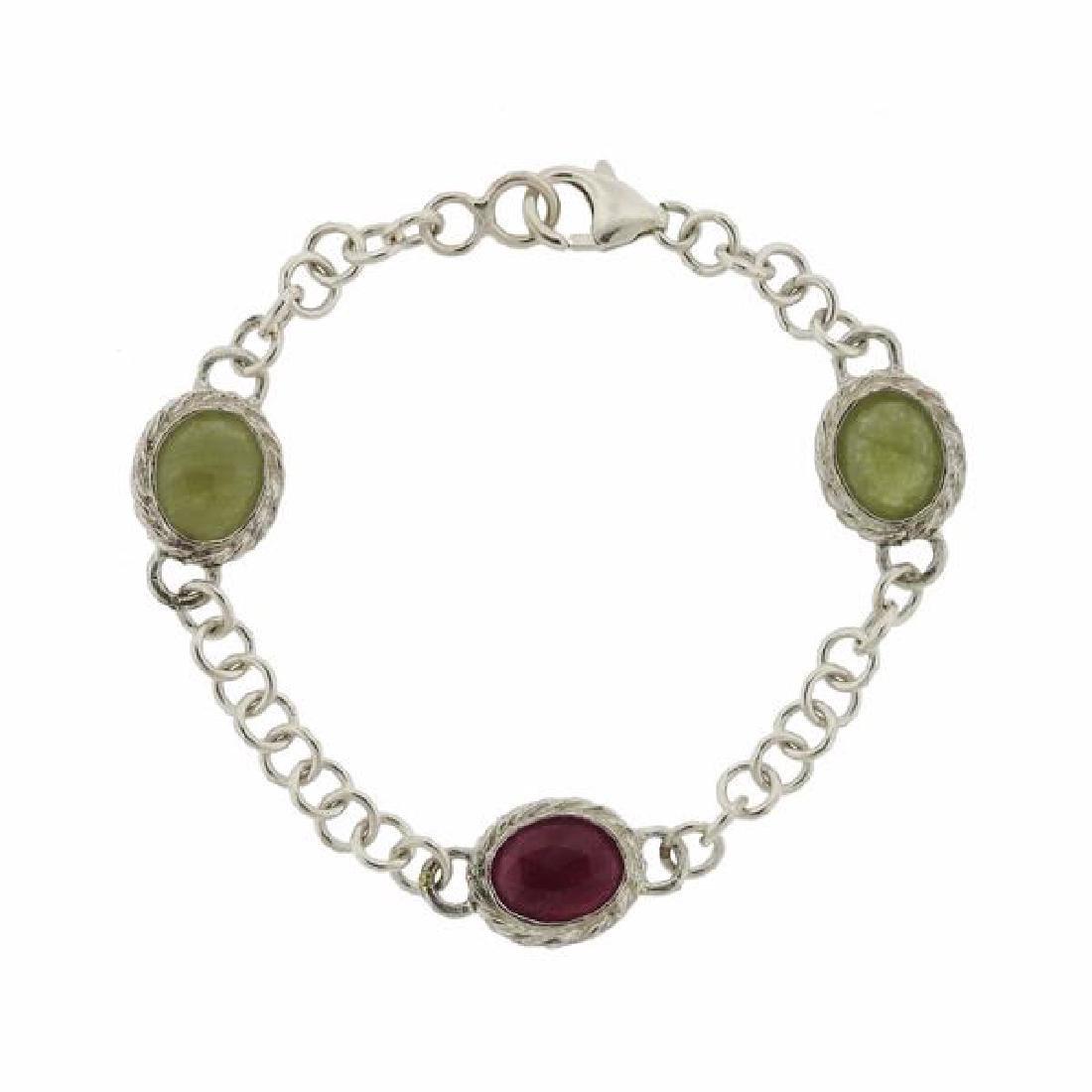F. Buccellati Sterling Green Red Sapphire Bracelet - 4