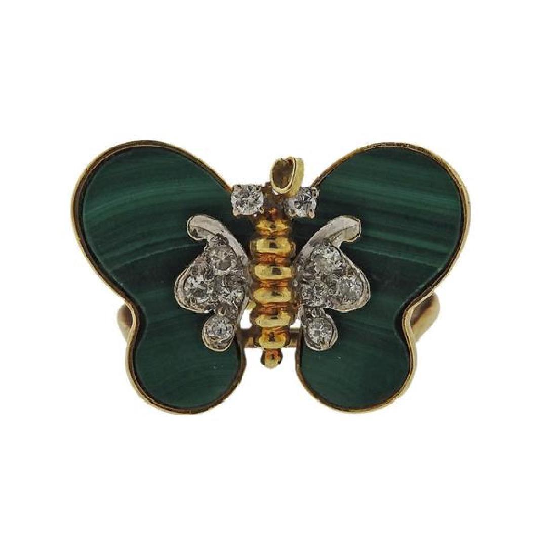 14k Gold Diamond Malachite Butterfly Ring