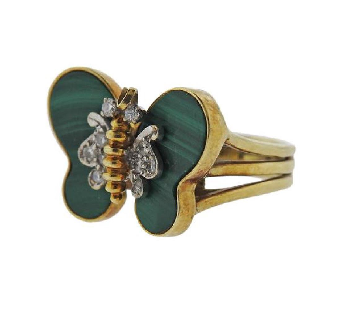 14k Gold Diamond Malachite Butterfly Ring - 2