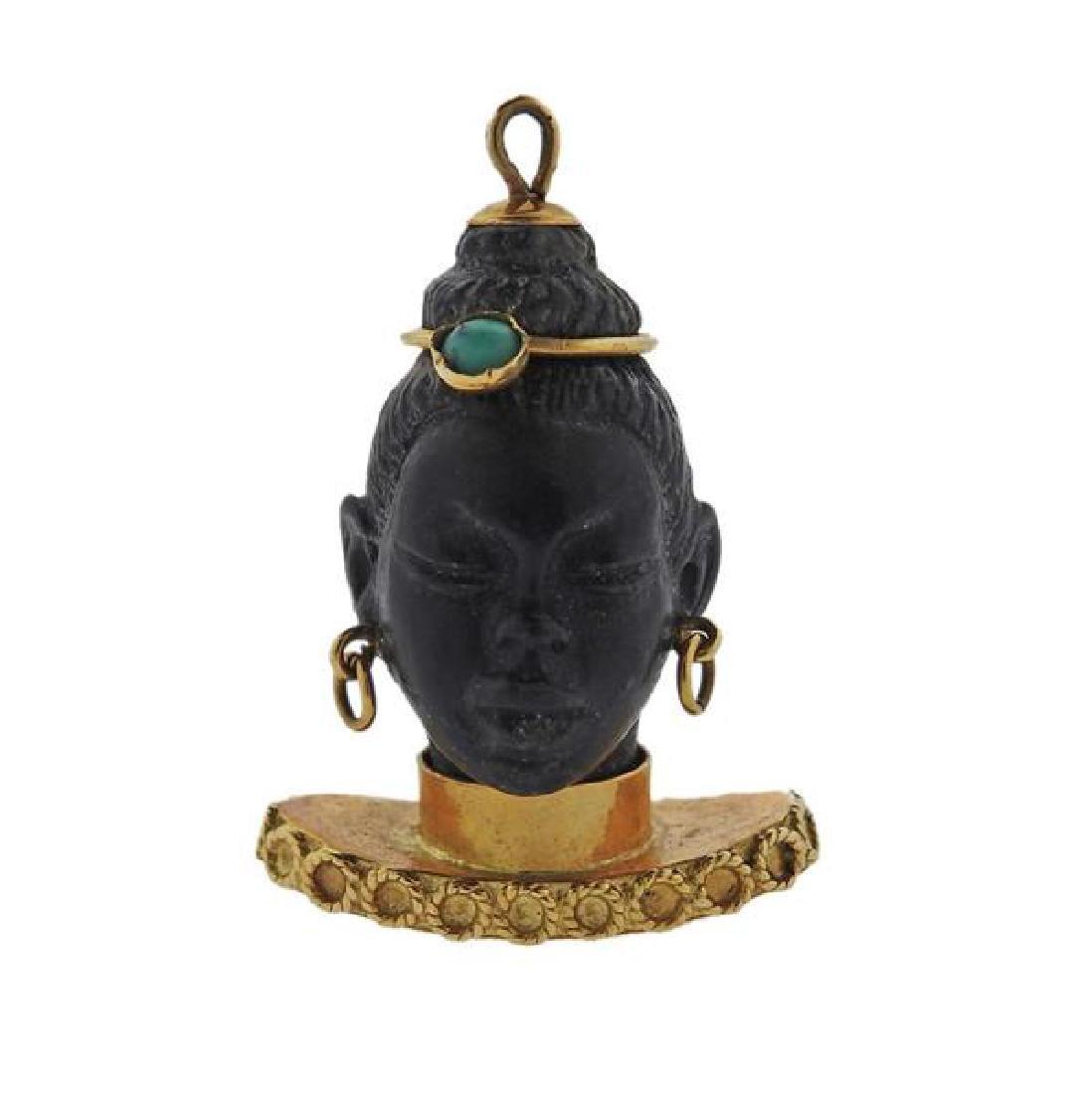 18k Gold Turquoise Blackamoor Pendant