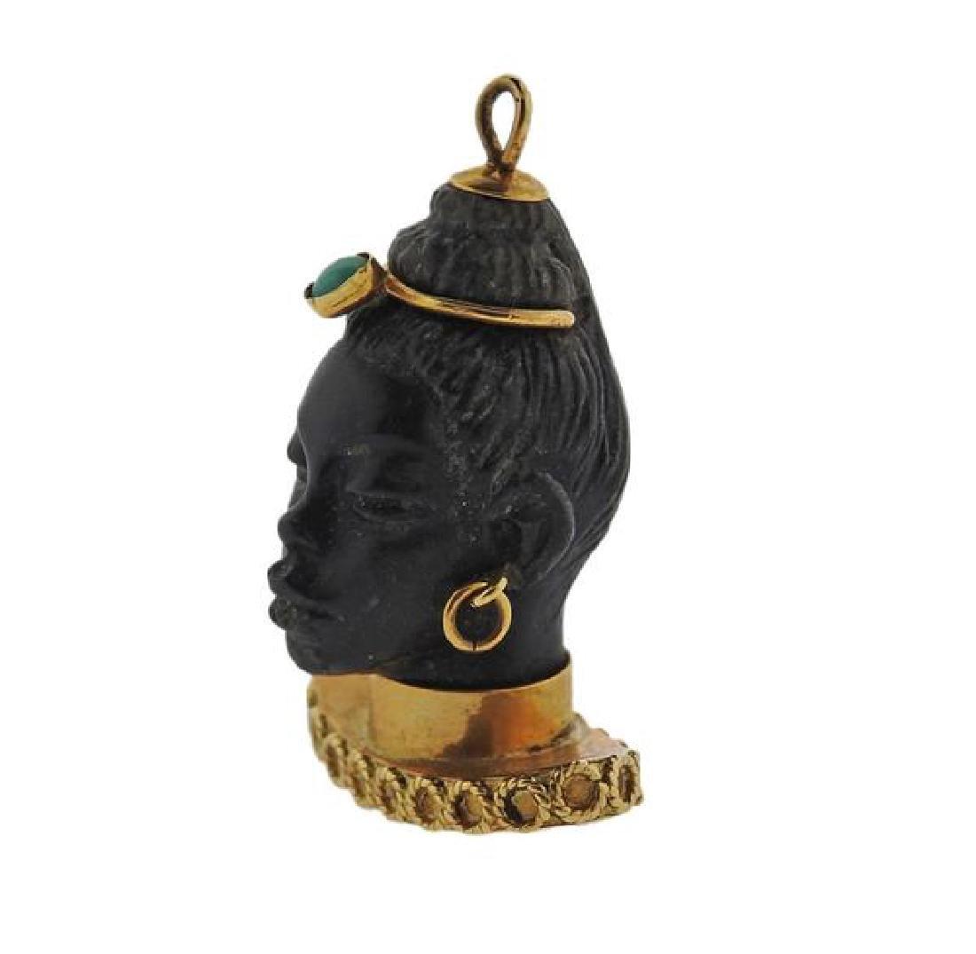 18k Gold Turquoise Blackamoor Pendant - 2