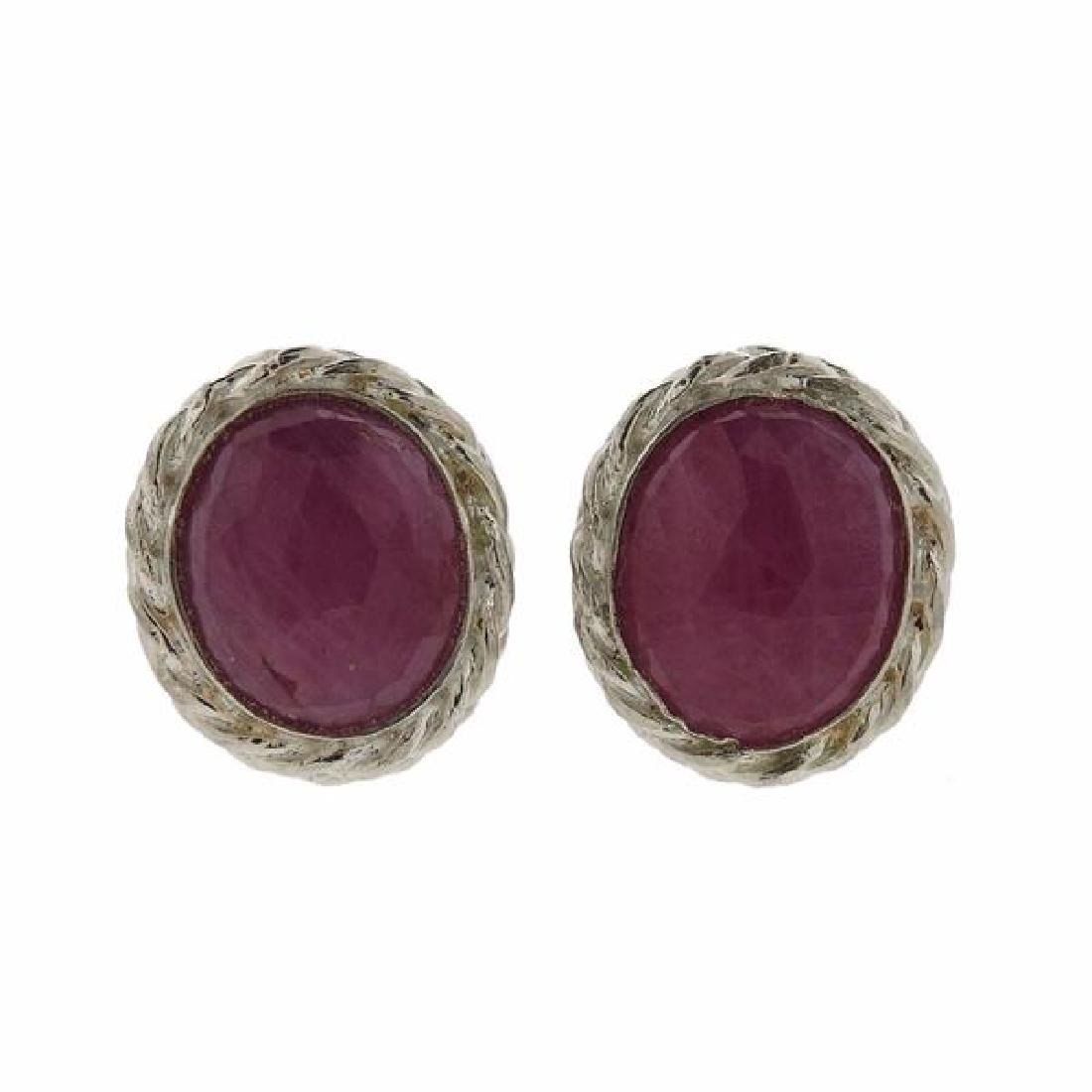 F. Buccellati Sterling Silver Pink Sapphire Earrings