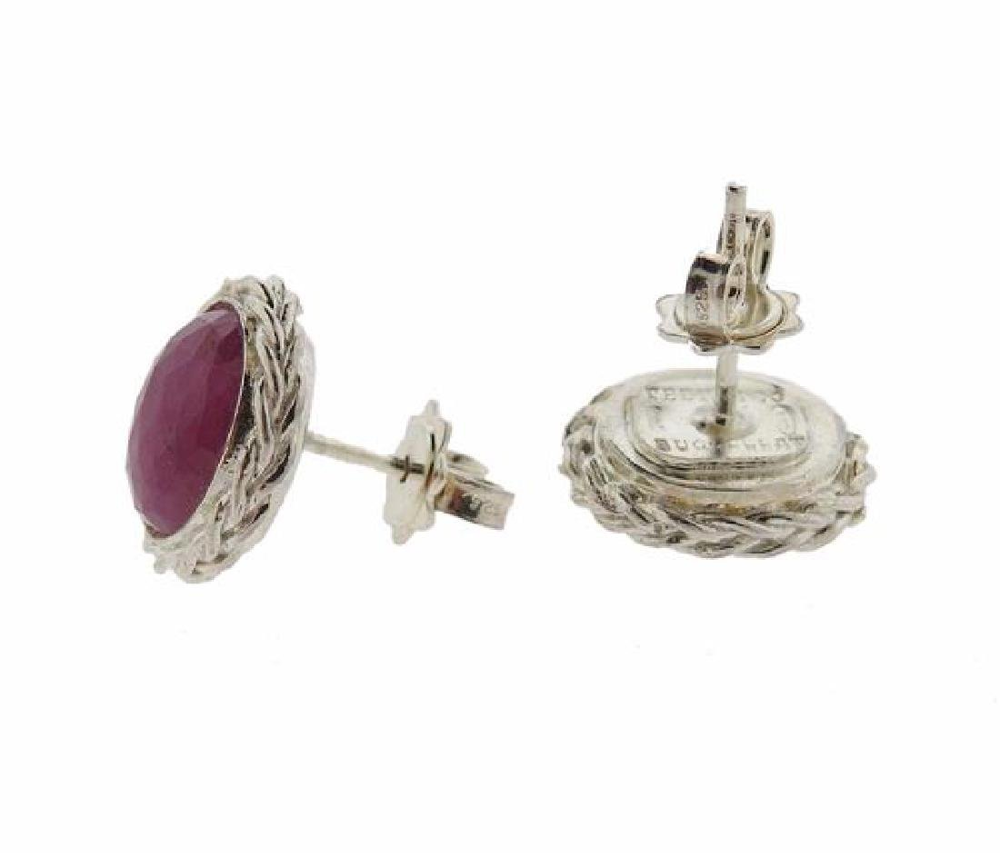 F. Buccellati Sterling Silver Pink Sapphire Earrings - 2