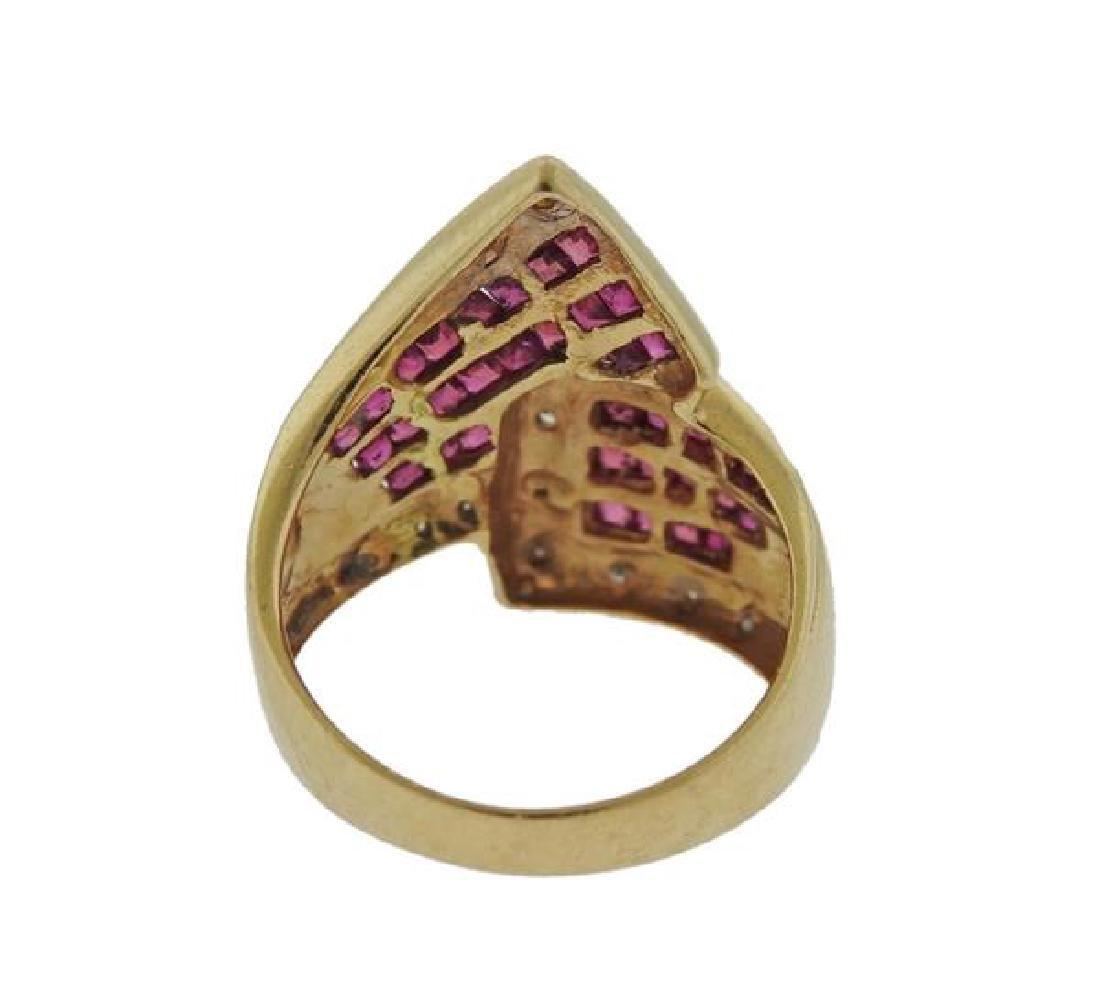 14k Gold Diamond Ruby Ring - 3