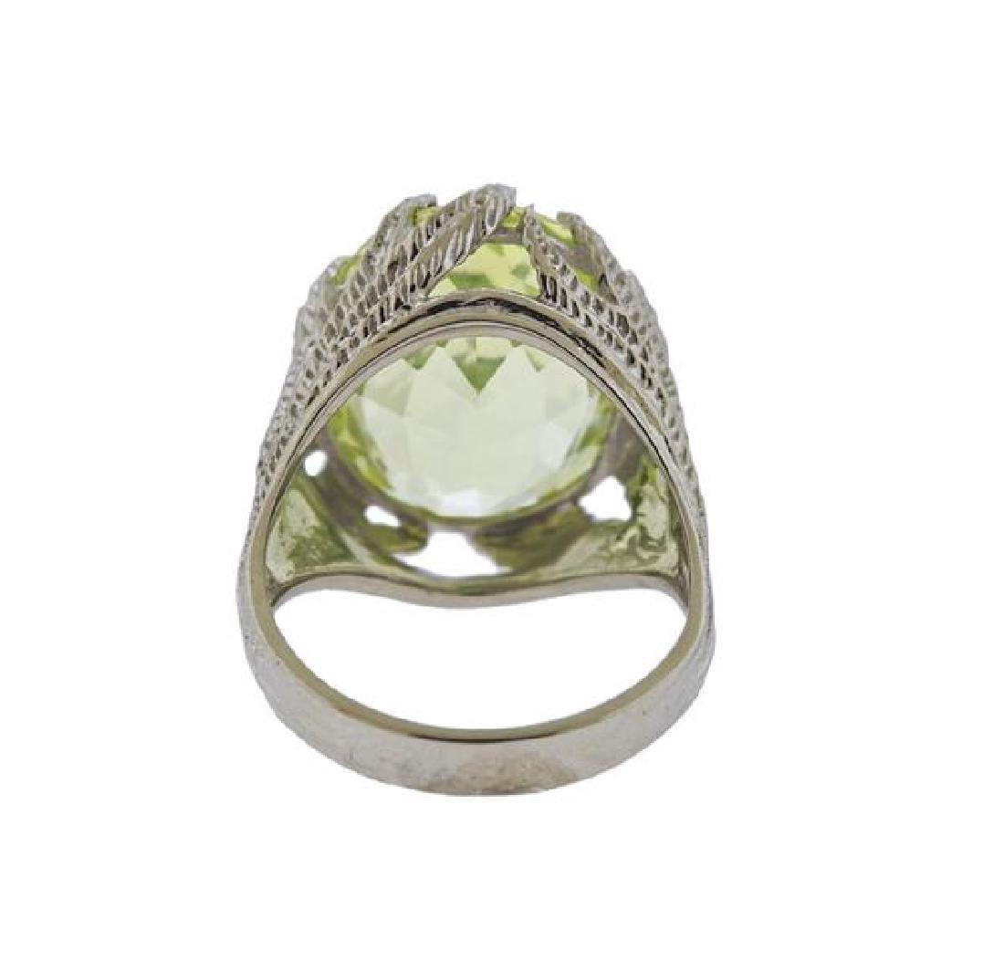 14k Gold Yellow Stone Ring - 4