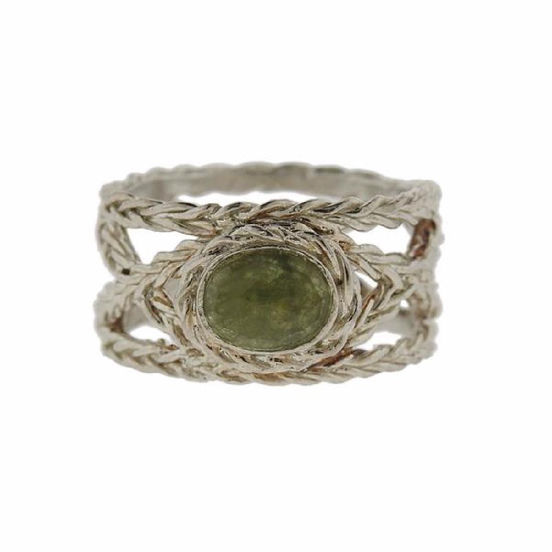 F. Buccellati Sterling Silver Green Sapphire Ring