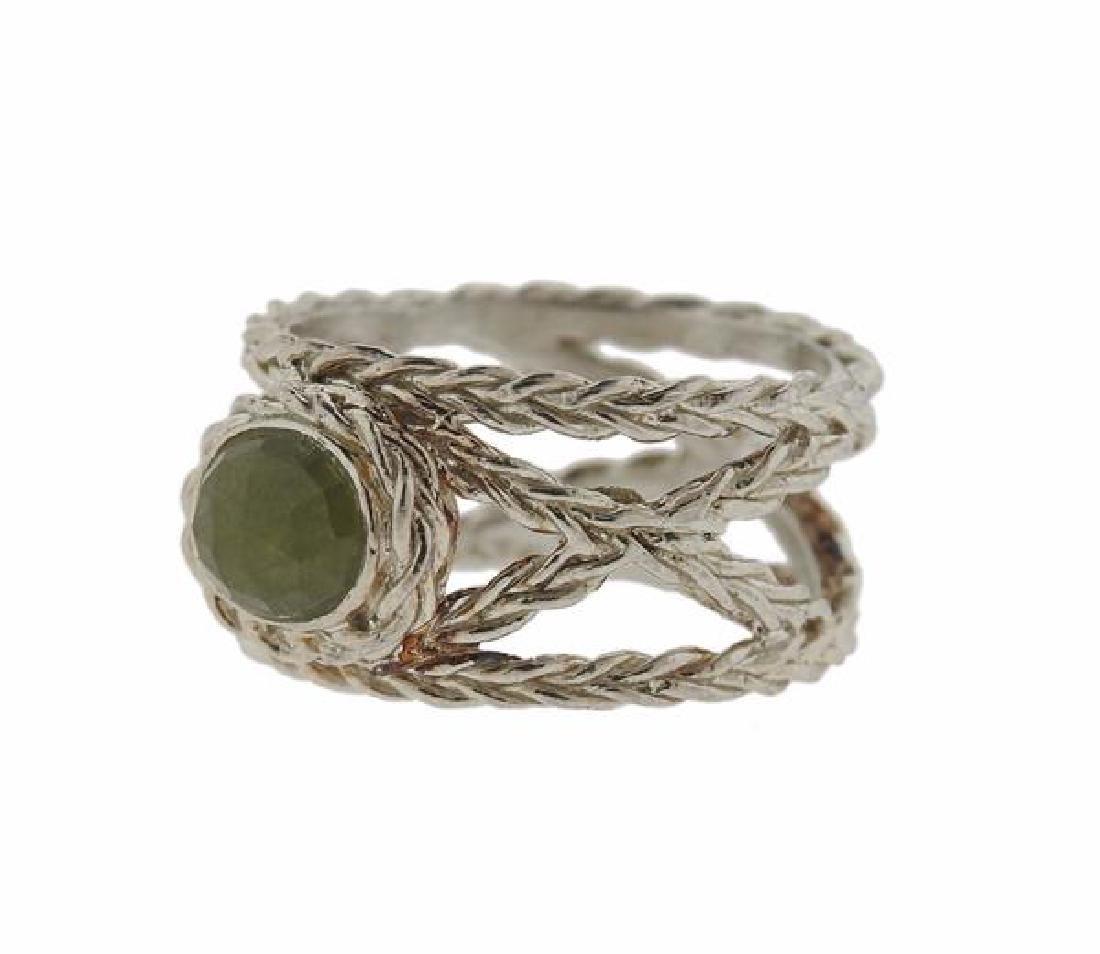 F. Buccellati Sterling Silver Green Sapphire Ring - 2