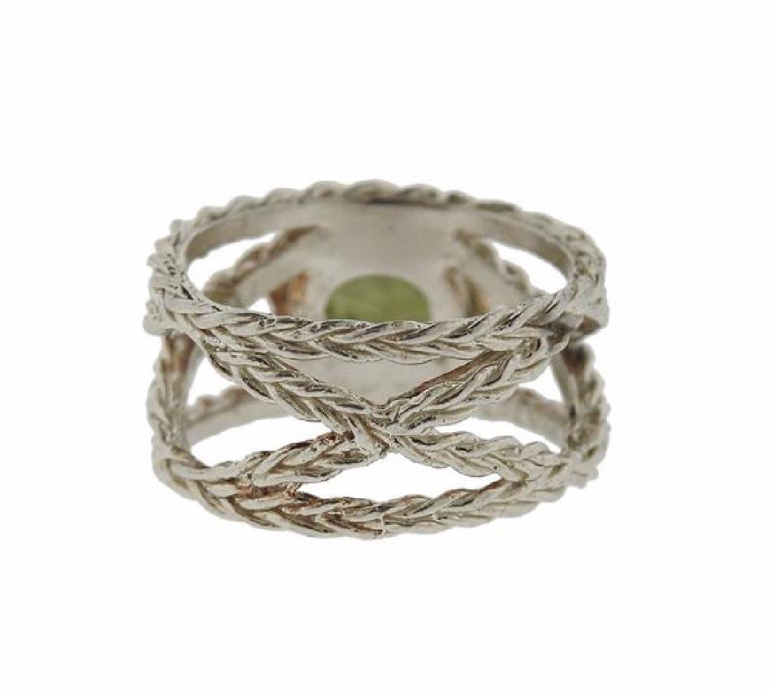 F. Buccellati Sterling Silver Green Sapphire Ring - 3