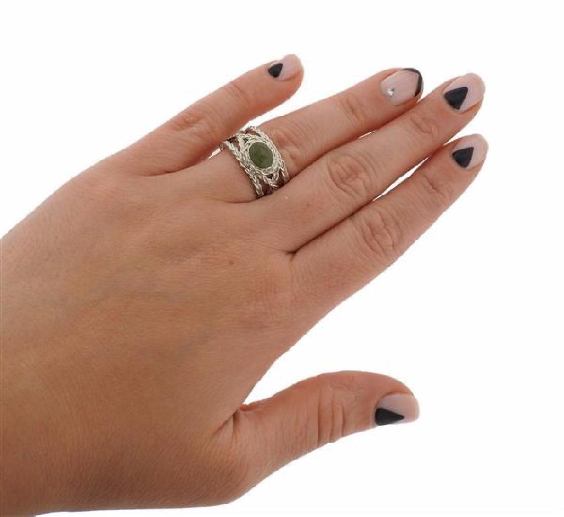 F. Buccellati Sterling Silver Green Sapphire Ring - 4
